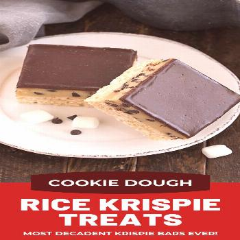 Cookie Dough Rice Krispie Treats - a decadent twist on the classic cereal bars with eggless cookie
