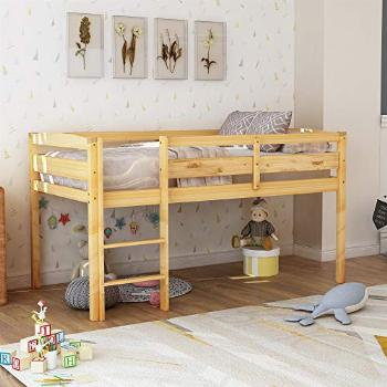 LUMISOL Kids Twin Size Low Loft Beds with Guard Raill and