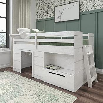 Max amp Lily Modern Farmhouse Loft Bed with 1 Drawer, Twin,