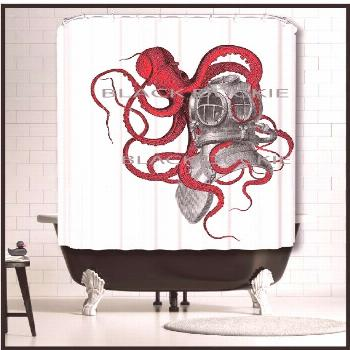 Red Octopus playing with Diver Helmet Shower Curtain - red kraken tentacles diving gear octop... Re