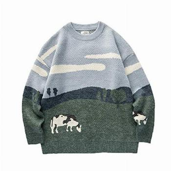 Youth Men Cows Vintage Winter Sweaters Pullover Mens O-Neck